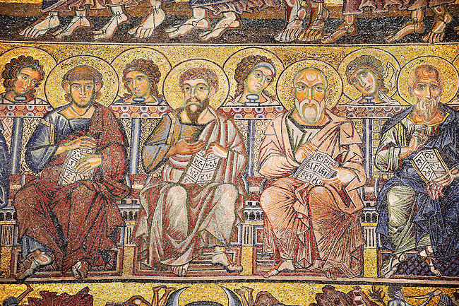 The Medieval mosaics of the ceiling of The Baptistry of Florence Duomo ( Battistero di San Giovanni ) showing the Apostles seated,  started in 1225 by Venetian craftsmen in a Byzantine style and completed in the 14th century. Florence Italy