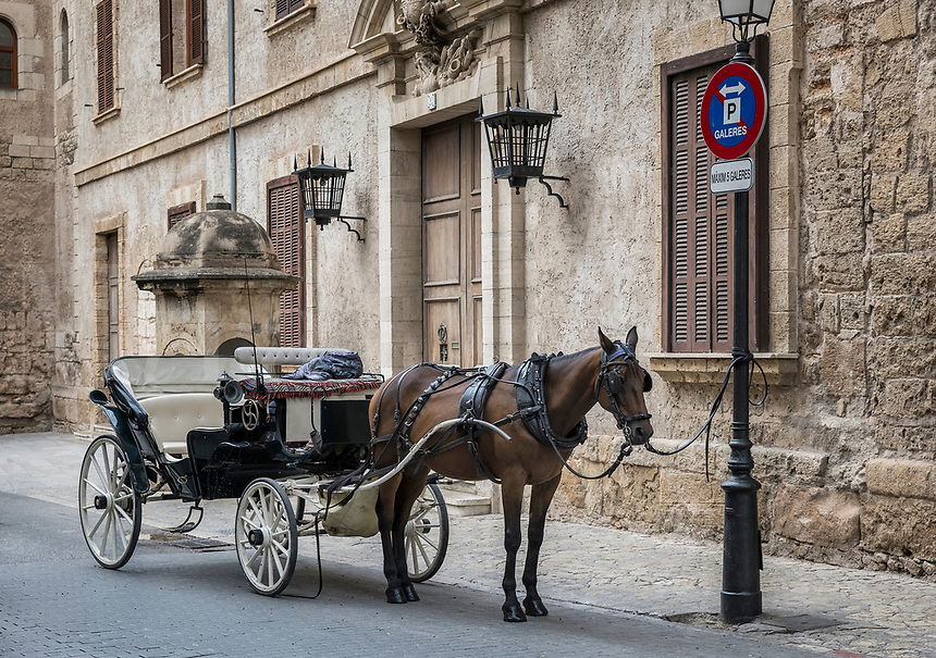 Horse drawn carriage awaits old city tour customers, Palma de Majorca, Balearic Islands, Spain.
