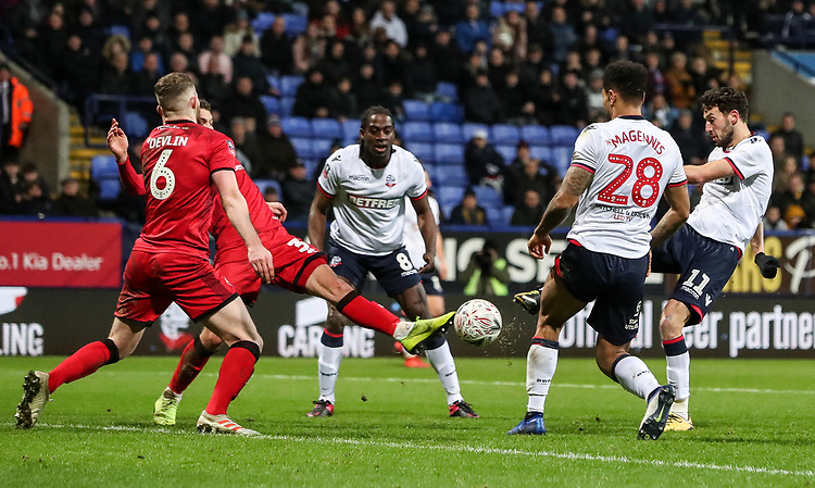 Bolton Wanderers' Will Buckley shoots into the goal only to see his effort subsequently ruled out<br /> <br /> Photographer Andrew Kearns/CameraSport<br /> <br /> Emirates FA Cup Third Round - Bolton Wanderers v Walsall - Saturday 5th January 2019 - University of Bolton Stadium - Bolton<br />  <br /> World Copyright © 2019 CameraSport. All rights reserved. 43 Linden Ave. Countesthorpe. Leicester. England. LE8 5PG - Tel: +44 (0) 116 277 4147 - admin@camerasport.com - www.camerasport.com