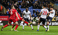Bolton Wanderers' Will Buckley shoots into the goal only to see his effort subsequently ruled out<br /> <br /> Photographer Andrew Kearns/CameraSport<br /> <br /> Emirates FA Cup Third Round - Bolton Wanderers v Walsall - Saturday 5th January 2019 - University of Bolton Stadium - Bolton<br />  <br /> World Copyright &copy; 2019 CameraSport. All rights reserved. 43 Linden Ave. Countesthorpe. Leicester. England. LE8 5PG - Tel: +44 (0) 116 277 4147 - admin@camerasport.com - www.camerasport.com