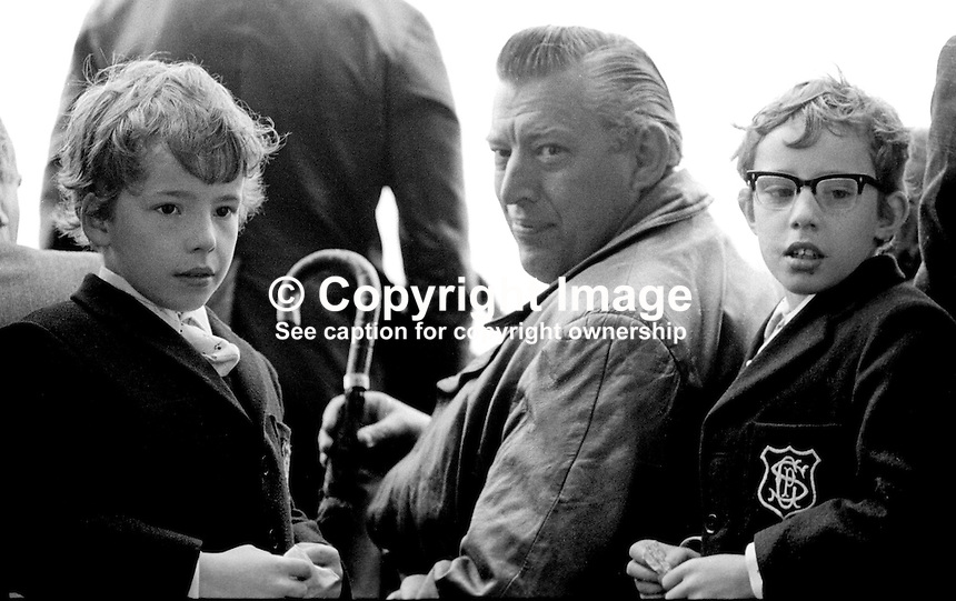 Ulster Loyalist leader Rev Ian Paisley, with his twin sons, Ian and Kyle, at UWC, Ulster Workers' Council, victory rally at Parliament Buildings, Stormont, Belfast, N Ireland, UK, 1st June 1974. 197406010326<br />