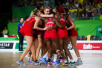 Picture by Alex Whitehead/SWpix.com - 15/04/2018 - Commonwealth Games - Netball - Coomera Indoor Sports Centre, Gold Coast, Australia - England players celebrate after defeating Australia in the Gold medal final.