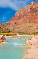 Little Colorado River, Grand Canyon National Park, Arizona, Blue color from calciem calcium carbonate in water.  Chuar Butte beyond, Near Colorado River