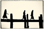 U Bein's Bridge, Mandalay, Burma; the longest teak bridge in the world