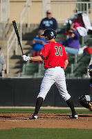 Cody Daily (31) of the Kannapolis Intimidators at bat against the Hickory Crawdads at Kannapolis Intimidators Stadium on April 10, 2016 in Kannapolis, North Carolina.  The Intimidators defeated the Crawdads 10-3.  (Brian Westerholt/Four Seam Images)