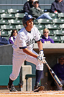 Tommy Reyes of the University of California at Irvine at the plate in a game against James Madison University at the Baseball at the Beach Tournament held at BB&T Coastal Field in Myrtle Beach, SC on February 28, 2010.