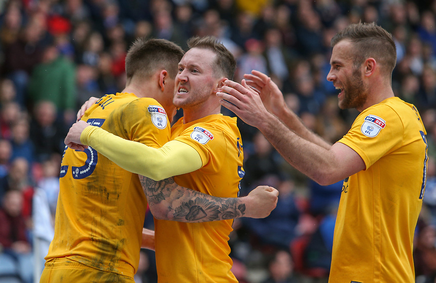 Preston North End's Jordan Hugill celebrates scoring his sides equalising goal to make the score 2-2 with Aidan McGeady and Tommy Spurr<br /> <br /> Photographer Alex Dodd/CameraSport<br /> <br /> The EFL Sky Bet Championship - Huddersfield Town v Preston North End - Friday 14th April 2016 - The John Smith's Stadium - Huddersfield<br /> <br /> World Copyright &copy; 2017 CameraSport. All rights reserved. 43 Linden Ave. Countesthorpe. Leicester. England. LE8 5PG - Tel: +44 (0) 116 277 4147 - admin@camerasport.com - www.camerasport.com
