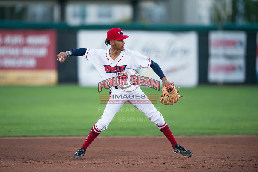 Orem Owlz shortstop Jeremiah Jackson (39) throws to first base during a Pioneer League game against the Ogden Raptors at Home of the OWLZ on August 24, 2018 in Orem, Utah. The Ogden Raptors defeated the Orem Owlz by a score of 13-5. (Zachary Lucy/Four Seam Images)