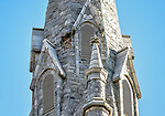 WATERBURY, CT. 23 December 2018-122318 - An area up high on the left steeple can be seen as having some missing pieces of stonework causing the prompt call to action at St. Anne's Church in Waterbury on Sunday. Bill Shettle Republican-American