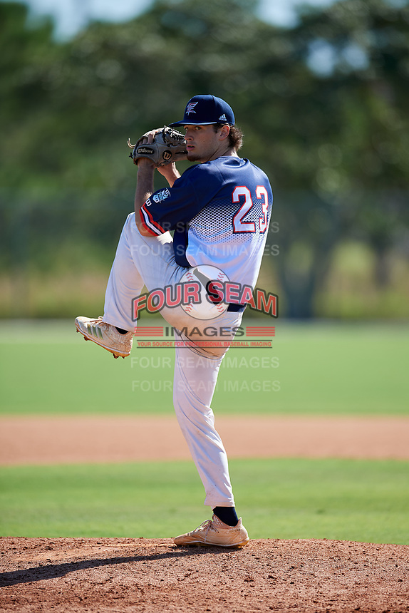 Chandler Wood during the WWBA World Championship at the Roger Dean Complex on October 18, 2018 in Jupiter, Florida.  Chandler Wood is a right handed pitcher from Dallas, Georgia who attends North Paulding High School and is committed to Georgia Tech.  (Mike Janes/Four Seam Images)