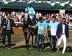 "October 06, 2018 : #2 A Raving Beauty (GER) and jockey John Velazquez (inside blue cap) win the 21st running of The First Lady (Grade 1) $400,000 ""Win and You're In Breeders' Cup Filly & Mare Turf"" for trainer Chad Brown and owners Michael Dubb, Madaket Stables, and Bethlehem Stables at Keeneland Race Course on October 06, 2018 in Lexington, KY.  Candice Chavez/ESW/CSM"