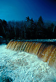 Upper Tahquemenon Falls in Spring, in the Upper Peninsula of Michigan, is one of the largest falls east of the Mississippi. It drops fifty feet and is 200 ft wide. Located in Luce county north of Newberry.