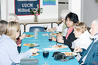 People eat at the Milford Democrats' Potluck Supper at the Unitarian Universalist Congregation Church in Milford, New Hampshire, USA, on Sat., Apr. 6, 2019. Democratic presidential candidate and Congressional Representative Eric Swalwell (D-CA 15th) spoke at the event. Swalwell is running primarily on gun control issues.