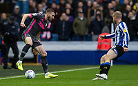 Leeds United's Stuart Dallas competing with Sheffield Wednesday's Barry Bannan (right) <br /> <br /> Photographer Andrew Kearns/CameraSport<br /> <br /> The EFL Sky Bet Championship - Sheffield Wednesday v Leeds United - Saturday 26th October 2019 - Hillsborough - Sheffield<br /> <br /> World Copyright © 2019 CameraSport. All rights reserved. 43 Linden Ave. Countesthorpe. Leicester. England. LE8 5PG - Tel: +44 (0) 116 277 4147 - admin@camerasport.com - www.camerasport.com