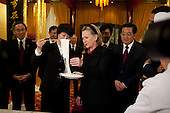 Beijing, China - November 17, 2009 -- The American delegation, including United States Secretary of State Hillary Rodham Clinton, watches a presentation of Chinese noodle making while attending a dinner hosted by Chinese President Hu Jintao, right, at the Diaoyutai State Guest House in Beijing, China, Monday, November 16, 2009.  .Mandatory Credit: Pete Souza - White House via CNP