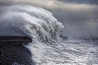 2019 03 03 Waves crash against Porthcawl lighthouse, Wales, UK