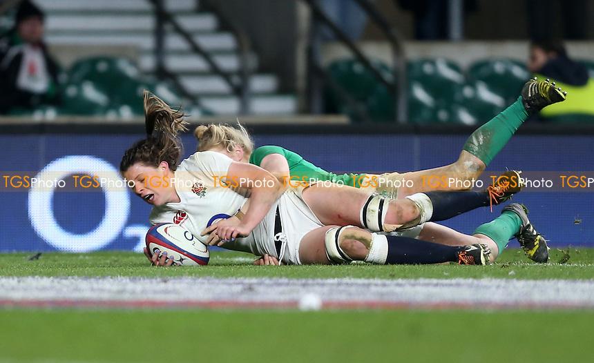 Abbie Scott of England scores a 2nd half try during England Women vs Ireland Women, Women's Six Nations Rugby Union at Twickenham Stadium, London