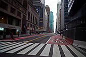 New York, New York<br /> March 20, 2020<br /> 5:10 PM<br /> <br /> Manhattan under the coronavirus pandemic. <br /> <br /> Empty streets in Midtown Manhattan at Friday rush-hour.<br /> <br /> Normally this street would be filled with cars and people.