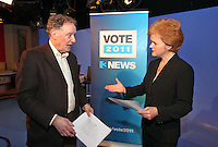 07/02/'11 TV3's Vincent Browne and Ursula Halligan pictured in the TV3 Studios this evening rehearsing for tomorrow night's party leader's debate...Picture Colin Keegan, Collins.****NO REPRODUCTION FEE FOR PIC****