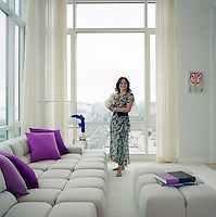 Fashion designer Jill Stuart with Madeline, a Maltese, in her Manhattan penthouse, which was designed by Selldorf Architects