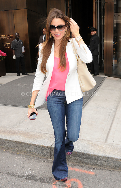 WWW.ACEPIXS.COM . . . . .  ....May 10 2012, New York City....Actress Sofia Vergara leaves a Soho hotel on May 10 2012 in New York City....Please byline: CURTIS MEANS - ACE PICTURES.... *** ***..Ace Pictures, Inc:  ..Philip Vaughan (212) 243-8787 or (646) 769 0430..e-mail: info@acepixs.com..web: http://www.acepixs.com