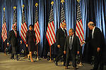 (L-r) Barack Obama's economic advisers, Roger Ferguson, Penny Pritzker, an unknown adviser, Robert Reich and William Daley enter the first press conference of Obama's transition team at the Hilton Hotel in downtown Chicago, Illinois on November 7, 2008.