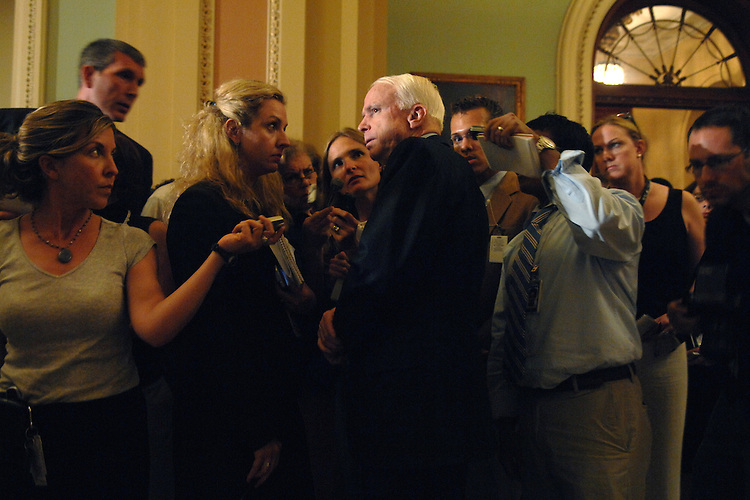 Sen. John McCain, R-Ariz., speaks to thepress after the senate luncheons.