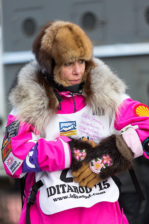 Musher DeeDee Jonrowe prepares for the ceremenial start of the 43rd Annual Iditarod in Anchorage, Alaska. The 43rd Annual Iditarod marks Jonrowe's 33rd start in the race.