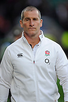 Stuart Lancaster, England Team Manager, looks determined before the start of the match