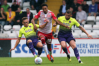 Kurtis Guthrie of Stevenageand Archie Collins of Exeter City during Stevenage vs Exeter City, Sky Bet EFL League 2 Football at the Lamex Stadium on 10th August 2019