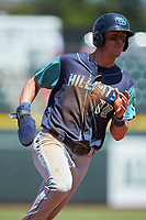 Nolan Jones (10) of the Lynchburg Hillcats hustles towards third base against the Winston-Salem Rayados at BB&T Ballpark on June 23, 2019 in Winston-Salem, North Carolina. The Hillcats defeated the Rayados 12-9 in 11 innings. (Brian Westerholt/Four Seam Images)