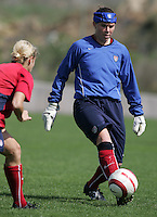 MAR 10, 2006: Albufeira, Portugal:  USWNT goalkeeper Jenni Branam passes the ball during practice for  the Algarve Cup in Albufeira, Portugal.
