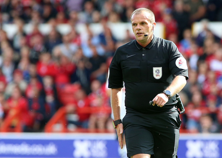 Referee Geoff Eltringham in action<br /> <br /> Photographer David Shipman/CameraSport<br /> <br /> The EFL Sky Bet Championship - Nottingham Forest v Preston North End - Saturday 31st August 2019 - The City Ground - Nottingham<br /> <br /> World Copyright © 2019 CameraSport. All rights reserved. 43 Linden Ave. Countesthorpe. Leicester. England. LE8 5PG - Tel: +44 (0) 116 277 4147 - admin@camerasport.com - www.camerasport.com