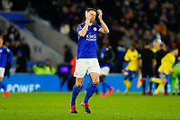 4th March 2020; King Power Stadium, Leicester, Midlands, England; English FA Cup Football, Leicester City versus Birmingham City; Jonny Evans of Leicester City applauds the home fans before kick-off