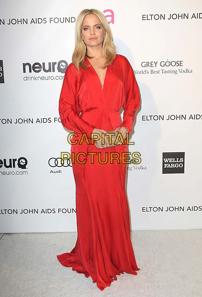Mena Suvari.21st Annual Elton John Academy Awards Viewing Party held at West Hollywood Park, West Hollywood, California, USA..February 24th, 2013.oscars full length red long sleeves dress gold clutch bag  .CAP/ADM/KB.©Kevan Brooks/AdMedia/Capital Pictures.