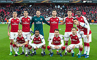 Arsenal pre match team photo (back row l-r) Hector Bellerin, Granit Xhaka, Goalkeeper David Ospina, Shkodran Mustafi, Laurent Koscielny, Danny Welbeck, Mesut Ozil (front row l-r) Jack Wilshere, Alexandre Lacazette, Aaron Ramsey & Nacho Monreal before the UEFA Europa League 1st leg match between Arsenal and Atletico Madrid at the Emirates Stadium, London, England on 26 April 2018. Photo by Andy Aleksiejczuk / PRiME Media Images.