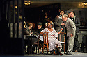 "London, UK. 24.11.2018. English National Opera present their fourth revival of Jonathan Miller's production of Puccini's ""La Boheme"", in which Natalya Romaniw makes her ENO debut. Cast is: Natalya Romaniw (Mimi), Jonathan Tetelman (Rodolfo), Nicholas Lester (Marcello), Simon Butteriss (Benoit/Alcindoro), Nadine Benjamin (Musetta), David Soar (Colline), Bozidar Smiljanic (Schaunard). Picture shows: Nadine Benjamin (Musetta), Simon Butteris (Alcindoro). Photograph © Jane Hobson."