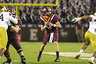 Blacksburg, VA - October 6, 2018: Virginia Tech Hokies quarterback Ryan Willis (5) attempts a pass during the game between Notre Dame and VA Tech at  Lane Stadium in Blacksburg, VA.   (Photo by Elliott Brown/Media Images International)