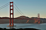 Golden Gate Bridge in San Francisco, California at sunset