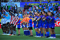 USA players sing the national anthem before the cup final against Fiji on Day two of the 2019 HSBC World Sevens Series Hamilton at FMG Stadium in Hamilton, New Zealand on Sunday, 27 January 2019. Photo: Dave Lintott / lintottphoto.co.nz