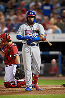 Buffalo Bisons third baseman Vladimir Guerrero Jr. (27) at bat during a game against the Syracuse Chiefs on September 2, 2018 at NBT Bank Stadium in Syracuse, New York.  Syracuse defeated Buffalo 4-3.  (Mike Janes/Four Seam Images)