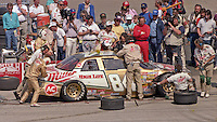 Dick Trickle 84 pits pit stop Winston 500 at Talladega Superspeedway in Talladega , AL in May 1989.  (Photo by Brian Cleary/www.bcpix.com)