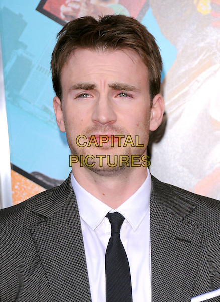 "CHRIS EVANS .at the Warner Bros. Pictures L.A. Premiere of ""The Losers"" held at The Grauman's Chinese Theatre in Hollywood, California, USA,.April 20th 2010..arrivals portrait headshot  beard facial hair black tie grey gray white shirt                                                .CAP/RKE/DVS.©DVS/RockinExposures/Capital Pictures."