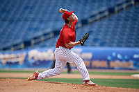 Clearwater Threshers relief pitcher Jeff Singer (24) delivers a pitch during a game against the Lakeland Flying Tigers on May 2, 2018 at Spectrum Field in Clearwater, Florida.  Clearwater defeated Lakeland 7-5.  (Mike Janes/Four Seam Images)