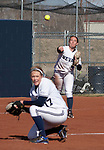 March 23, 2012:   Nevada Wolf Pack third baseman Bailey Brewer throws to first over pitcher Mallary Darby's head against the Fresno State Bulldogs during their NCAA softball game played at Christina M. Hixson Softball Park on Friday in Reno, Nevada.