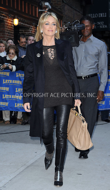 WWW.ACEPIXS.COM . . . . . ....Novemeber 16 2009, New York City....Actress Sharon Stone made an appearance at 'The Late Show with David Letterman' on November 16 2009 in New York city....Please byline: KRISTIN CALLAHAN - ACEPIXS.COM.. . . . . . ..Ace Pictures, Inc:  ..tel: (212) 243 8787 or (646) 769 0430..e-mail: info@acepixs.com..web: http://www.acepixs.com