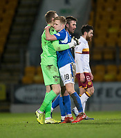 12th February 2020; McDairmid Park, Perth, Perth and Kinross, Scotland; Scottish Premiership Football, St Johnstone versus Motherwell; Zander Clark and Alistair McCann of St Johnstone celebrate at the end of the match