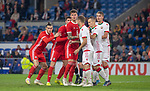 Cardiff - UK - 9th September :<br />Wales v Belarus Friendly match at Cardiff City Stadium.<br />Gareth Bale, Chris Mepham and Joe Rodon of Wales shuffle for position in the second half.<br />Editorial use only