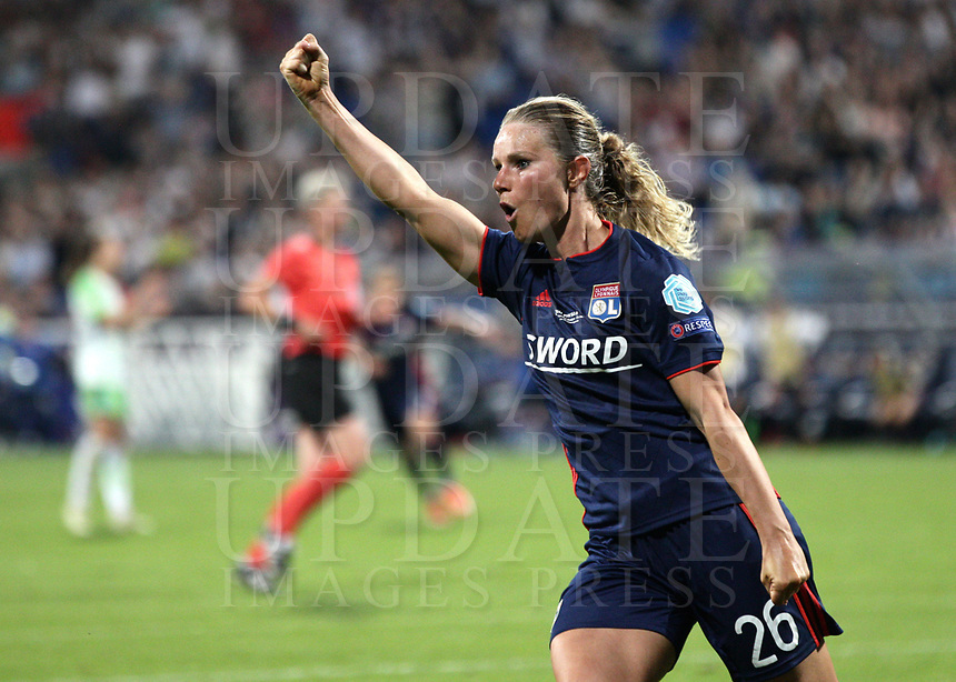 Football, Uefa Women's Champions League Final, VfL Wolfsburg - Olympique Lyonnais, Valeriy Lobanovskyi Stadium in Kiev on May 24, 2018.<br /> Olympique Lyonnais' Amandine Henry celebrates after scoring during the Uefa Women's Champions League Final between  VfL Wolfsburg and Olympique Lyonnais, at the Valeriy Lobanovskyi Stadium in Kiev, on May 24, 2018.<br /> UPDATE IMAGES PRESS/Isabella Bonotto