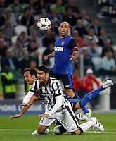 Calcio, quarti di finale di andata di Champions League: Juventus vs Monaco. Torino, Juventus stadium, 14 aprile 2015.<br /> Juventus' Alvaro Morata is fouled by Monaco's Ricardo Carvalho, left, to get a penalty during the Champions League quarterfinals first leg football match between Juventus and Monaco at Juventus stadium, 14 April 2015.<br /> UPDATE IMAGES PRESS/Isabella Bonotto